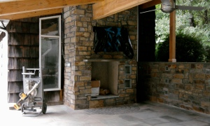 fireplace stone work partially done